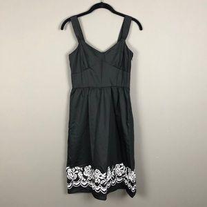 LOFT l Black & White Embroidered Dress